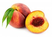 Ripe Whole Peach With Green Leaves And Half Peach Isolated On White Background With Clipping Path poster
