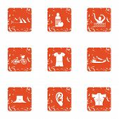 Street Occupation Icons Set. Grunge Set Of 9 Street Occupation Vector Icons For Web Isolated On Whit poster
