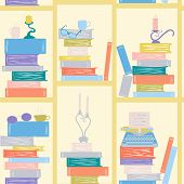 Seamless Pattern, Bookshelf Writer. Books, Candles, Glasses, Typewriter. Library Book Shelf Backgrou poster