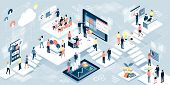 Isometric Virtual Office With Business People Working Together And Mobile Devices: Business Manageme poster