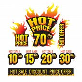The Set Of Hot Price Burning Labels Discount 10%. 15%. 20%. 30%. 70% And Tags For Hot Sale. Banner.  poster