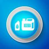 White Plastic Canister For Motor Machine Oil Icon Isolated On Blue Background. Oil Gallon. Oil Chang poster