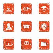 Peaceful People Icons Set. Grunge Set Of 9 Peaceful People Vector Icons For Web Isolated On White Ba poster