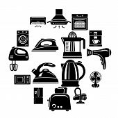 House Appliance Icons Set. Simple Illustration Of 16 House Appliance Vector Icons For Web poster