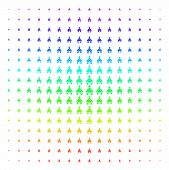 Christian Church Icon Rainbow Colored Halftone Pattern. Vector Christian Church Shapes Organized Int poster
