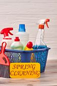 Basket With Household Cleaning Products. Container With A Glass Cleaner, Disinfecting Spray, A Toile poster