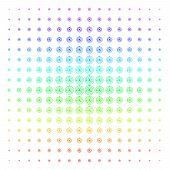 Solar System Icon Spectrum Halftone Pattern. Vector Solar System Objects Arranged Into Halftone Grid poster