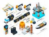 Visualization Of All Stages Of Oil Production. Isometric Pictures. Vector Oil Industrial, Refining A poster