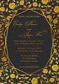 Wedding Invitation, Roses Floral Invite Card Design With Geometrical Art Lines, Golden Foil Border,  poster