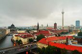 Berlin, Germany. Aerial View Of Landmarks In Berlin, Germany During Rainy Day. Roads, Various Cars A poster