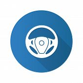 Car Rudder Flat Design Long Shadow Glyph Icon. Steering Wheel. Vector Silhouette Illustration poster