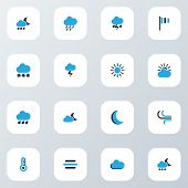 Climate Icons Colored Set With Moon, Lightning, Drizzle And Other Night Elements. Isolated Vector Il poster