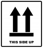 Top Side, This Side Up Symbol. Icon Of Side Up Sign.  Illustration. Black Silhouettes Of Arrows, Pac poster