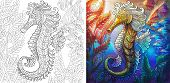 Coloring Page Of Seahorse And Shoal Of Fishes. Ocean Underwater Background. Colorless And Color Samp poster