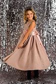 Child Girl In Stylish Glamour Dress, Elegance. Fashion Model On Silver Background, Beauty. Fashion A poster
