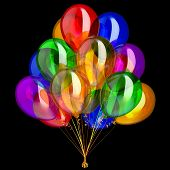 3d Illustration Of Balloons Happy Birthday Party Decoration Festive Colorful Translucent Glossy. Iso poster
