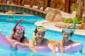 foto of swimming pool family  - Children scuba diving - JPG