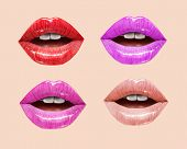 Pink, Red And Nude Sensual Juicy Lips Collection. Mouth Set. Vector Lipstick Or Lip Gloss 3d Realist poster