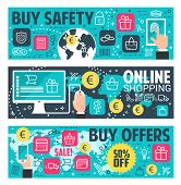 Secure Online Shopping Banner For E-commerce And Online Payment Security Concept. Online Shopping Wi poster