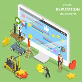 Reputation Management Flat Isometric Vector. Group Of People Are Trying To Replace Negative Symbols  poster