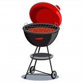 Round Barbecue Grill With Hot Coals. Vector Cartoon Illustration Isolated On White Background. Bbq I poster