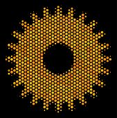 Halftone Hexagon Cogwheel Icon. Bright Gold Pictogram With Honeycomb Geometric Structure On A Black  poster