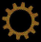 Halftone Hexagonal Cogwheel Icon. Bright Golden Pictogram With Honeycomb Geometric Structure On A Bl poster