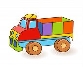 Toy Truck Flash Card. Kids Wall Art. First Word Flashcard. Playroom Decor. Colorful Toy Truck. Carto poster