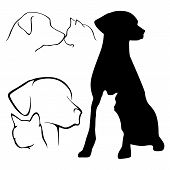 stock photo of chocolate lab  - Various Dog and Cat Silhouette Outline Illustrations - JPG