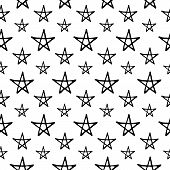 Cute Cartoon Night Sky Pattern With Hand Drawn Stars. Sweet Vector Black And White Night Sky Pattern poster