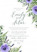 Wedding Floral Invite, Invitation, Save The Date Card Design. Violet Anemone Flowers, Lavender Bloss poster