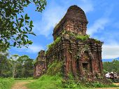 picture of champa  - One of the temples in a cluster of abandoned and partially ruined Hindu temples constructed between the 4th and the 14th century AD by the kings of Champa  - JPG