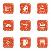 Scientific Paper Icons Set. Grunge Set Of 9 Scientific Paper Vector Icons For Web Isolated On White  poster