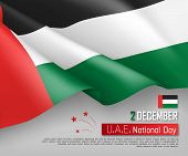 United Arab Emirates National Day 2th Of December Greeting Card. Congratulation Template With Realis poster