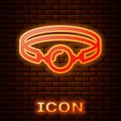Glowing Neon Silicone Ball Gag With A Leather Belt Icon Isolated On Brick Wall Background. Fetish Ac poster