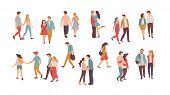 Family Vector, People Walking In Pairs, Holding Hands Of Each Other. Happy Romantic Couples, Hugs An poster