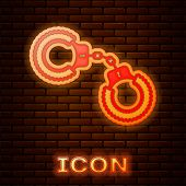 Glowing Neon Sexy Fluffy Handcuffs Icon Isolated On Brick Wall Background. Handcuffs With Fur. Fetis poster
