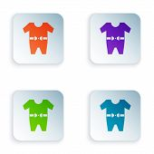 Color Baby Clothes Icon Isolated On White Background. Baby Clothing For Baby Girl And Boy. Baby Body poster