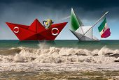 Red Paper Rescue Boat Of The Coast Guard Towing A White Boat With Italian Flag That Are Sinking In A poster