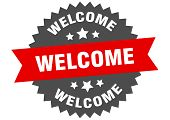 Welcome Sign. Welcome Red-black Circular Band Label poster