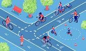 Bike Friendly City Isometric Composition With People Cycling On Two Way Cycle Path Bicycle Lanes Vec poster