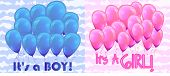 Blue Balloons And Inscription This Is A Boy Greeting Card. Pink Balloons And An Inscription. This Is poster
