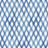 Watercolor Stripe Plaid Seamless Pattern. Indigo Blue Stripes Background. Watercolour Hand Drawn Dia poster