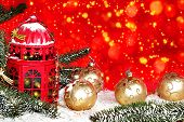 Christmas And New Year Background With Christmas Trees And Elegant Christmas-tree Decorations, Snow  poster