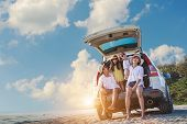 Holiday And Travel Family Concept, Summer Vacations . Happy Family Enjoying Road Trip With Their Fav poster