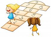 stock photo of hopscotch  - Illustration of kids playing hopscotch - JPG