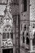 Doge`s Palace Or Palazzo Ducale Exterior In Black And White, Venice, Italy. It Is A Famous Landmark  poster