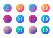 Login Logout Account Ui Web Button. Ui Elements. Login Logout Vector Icons On Trendy Gradients For W poster