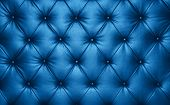 Close Up Background Texture Of Dark Blue Capitone Genuine Leather, Classic Retro Chesterfield Style  poster