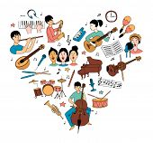 Heart-shaped Musical Pattern And Children Musicians With Musical Instruments poster